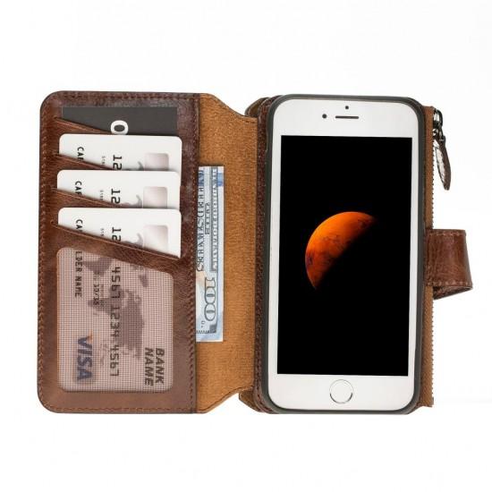 Barchello MW Double Zip Deri Telefon Kılıfı iPhone 7-8 Vs5 Kahve