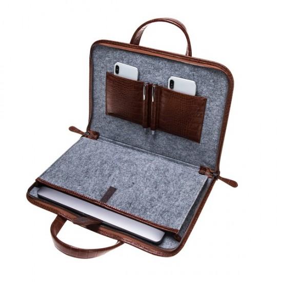 Barchello Pergamon Deri Laptop Çantası FL Kahverengi