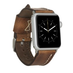 Bouletta Apple Watch 38/40mm Deri Saat Kordon Dikişli Taba