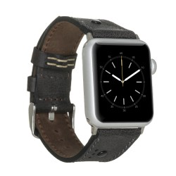 Bouletta Apple Watch 42/44mm Deri Saat Kordon Troklu Siyah