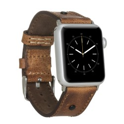 Bouletta Apple Watch 38/40mm Deri Saat Kordon Troklu Taba