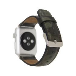 Bouletta Apple Watch 42/44mm Kamuflaj Baskılı Deri Saat Kordonu Yeşil