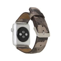 Bouletta Apple Watch 42/44mm Kamuflaj Baskılı Deri Saat Kordonu Bej