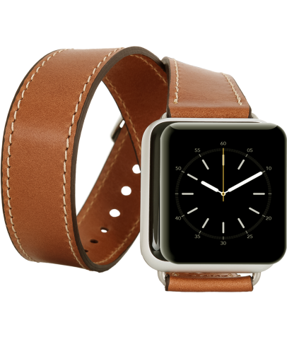 Bouletta Apple Watch Deri Çift Tur Kordon 42/44mm-RST2 Taba