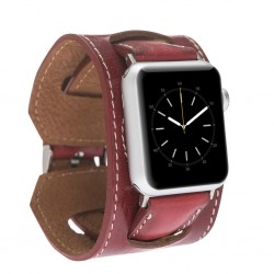 Bouletta Apple Watch Deri Cuff Kordon 42/44mm V4Ef Kırmızı