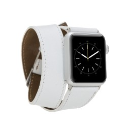 Bouletta Apple Watch Deri Çift Tur Kordon 38/40/42/44mm-F3 Beyaz