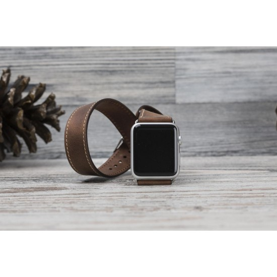 Bouletta Apple Watch Deri Çift Tur Kordon 38/40mm A.Kahve