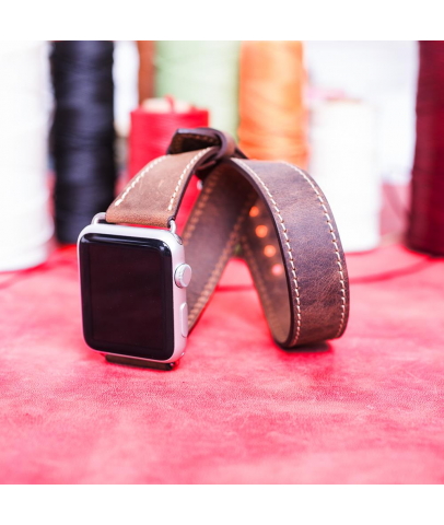 Bouletta Apple Watch Deri Çift Tur Kordon 42/44mm-G6 Koyu Kahve