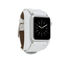 Bouletta Apple Watch Deri Kordon 38-40-42-44mm Cuff F3 Beyaz