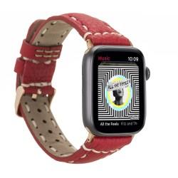 Bouletta Apple Watch Deri Kordon 38-40mm ERC2 SM43 Dikişli Kırmızı