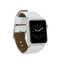Bouletta Apple Watch Deri Kordon 38-40-42-44mm Orfe F3 Beyaz