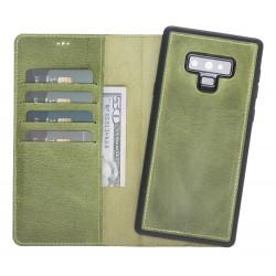 Bouletta Kılıf+Arka Kapak Note 9 Deri Telefon Kılıfı Yeşil