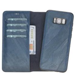 Bouletta Magic Wallet Deri telefon Kılıfı-Samsung S8 Plus-UK7 Mavi