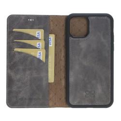 Bouletta MW RFID li Deri Arka Kapak+Kılıf iPhone 11 6.1inç TN18EF Gri