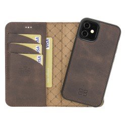 Bouletta MW Deri Telefon Kılıfı iPhone 12 mini TN03 Kahve RFID