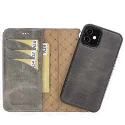 Bouletta MW Deri Telefon Kılıfı iPhone 12 mini TN18EF Gri RFID