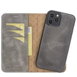 Bouletta MW Deri Telefon Kılıfı iPhone 12 Pro Max TN18EF Gri RFID