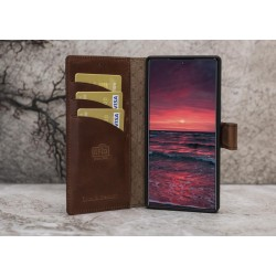 Bouletta MW Deri Telefon Kılıfı  Samsung Note 10 G2 Kahverengi RFID