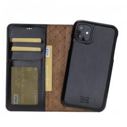 Bouletta MW F360 Deri Telefon Kılıfı iPhone 11 6.1-RST1 Siyah RFID