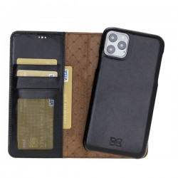 Bouletta MW F360 Deri Telefon Kılıfı iPhone 11 ProMax RST1 Siyah RFID
