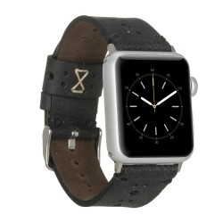 Bouletta Apple Watch 42/44mm Deri Saat Kordon Delikli Siyah