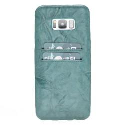 Bouletta Ultra Cover-CC  Deri Telefon Kılıfı Samsung S8+ B14 Yeşil
