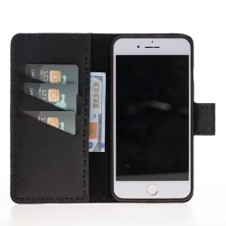 Plm Flora Wallet Case Deri Telefon Kılıfı iPhone 7-8 Plus Siyah