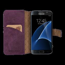 Bouletta Wallet Id Deri Telefon Kılıfı Samsung S7 G7 Mor